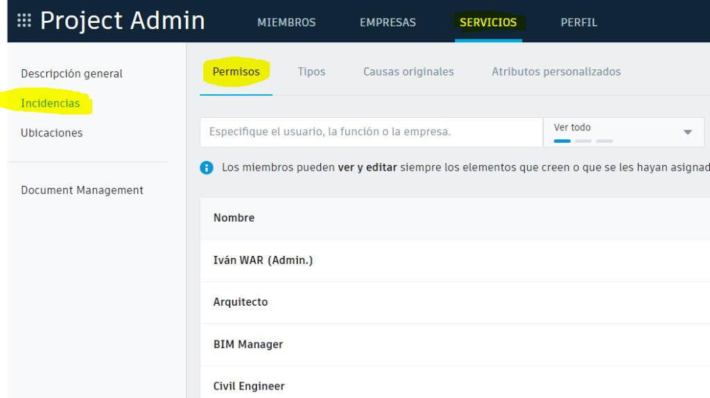 configuracion permisos incidencias en BIM360